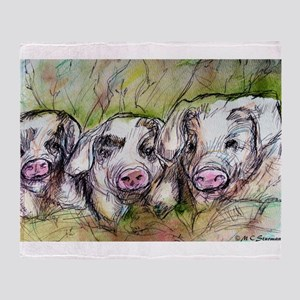 Piglets, Animal art! Throw Blanket
